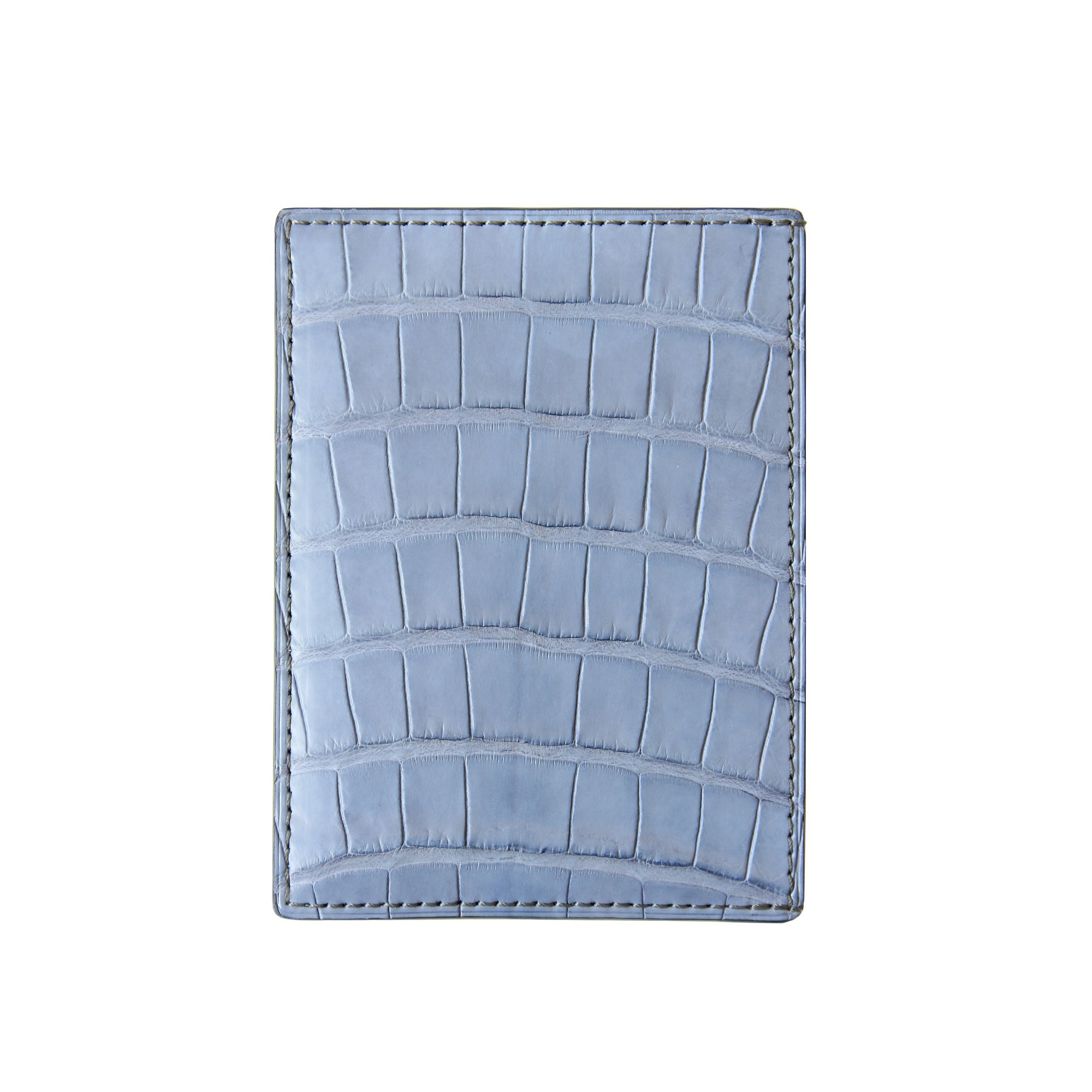 """alligator ID and card case """"VERTICAL"""" in lavender color alligator lined with goatskin in off-white color."""