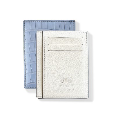 """alligator ID and card case """"VERTICAL"""" in lavender color alligator lined with goatskin in off-white color - front and back"""