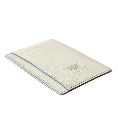 """alligator ID and card case """"VERTICAL"""" in lavender color alligator lined with goatskin in off-white color - 3/4 view"""