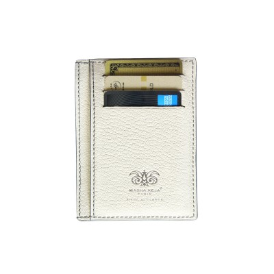 """alligator ID and card case """"VERTICAL"""" in lavender color alligator lined with goatskin in off-white color - filled"""