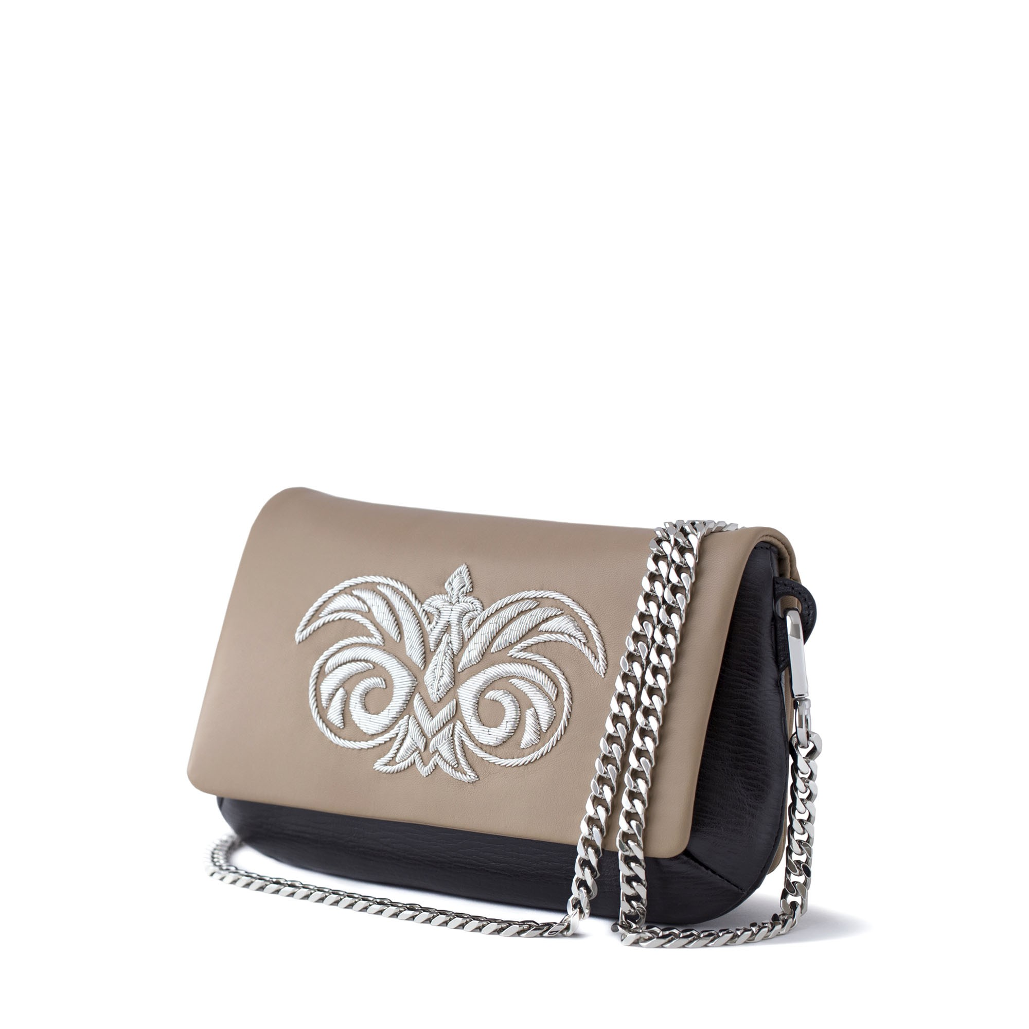 lambskin embroidered clutch