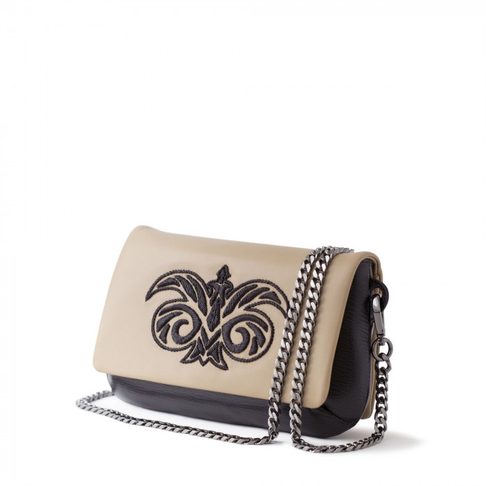 """clutch """"AVA Baby"""" in calf and lambskin embroidered cannetille"""