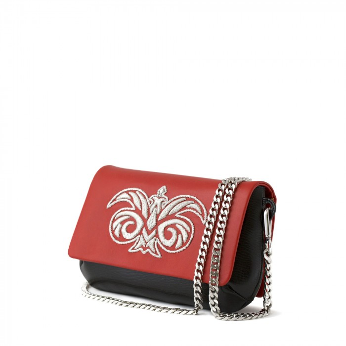 "small handbag ""AVA Baby"" in calf and lambskin embroidered cannetille"