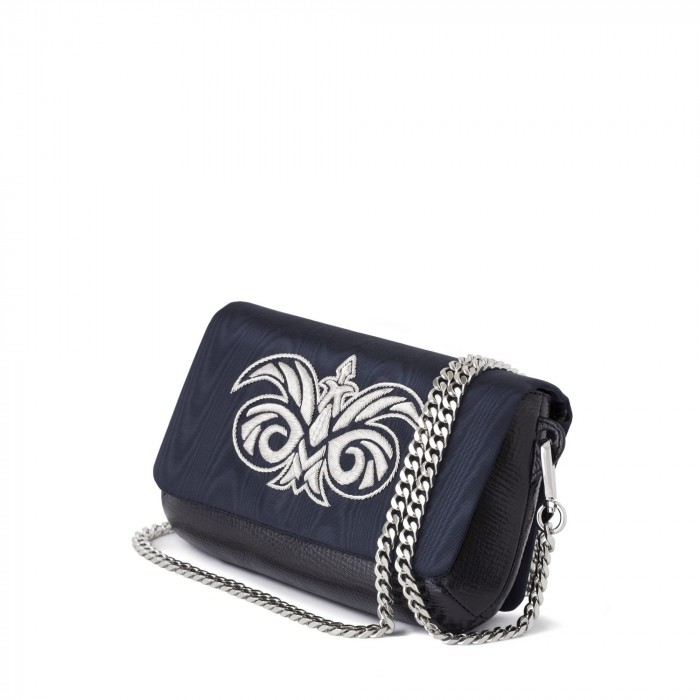 "clutch ""AVA BABY"" in calf and moire embroidered cannetille"