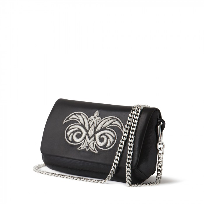 "clutch ""AVA Baby"" in calf and lambskin embroidered cannetille"