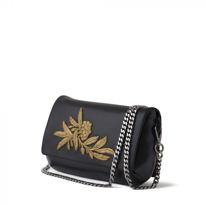 "clutch ""AVA Baby Flower"" in suede and calf"