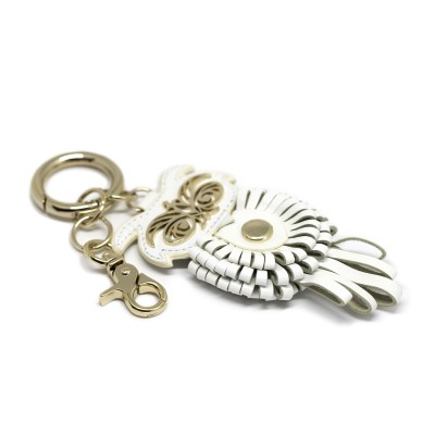 Key holder and bag charms OWL in white leather - side view