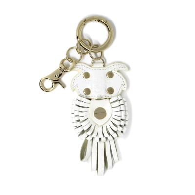 Key holder and bag charms OWL in white leather - back
