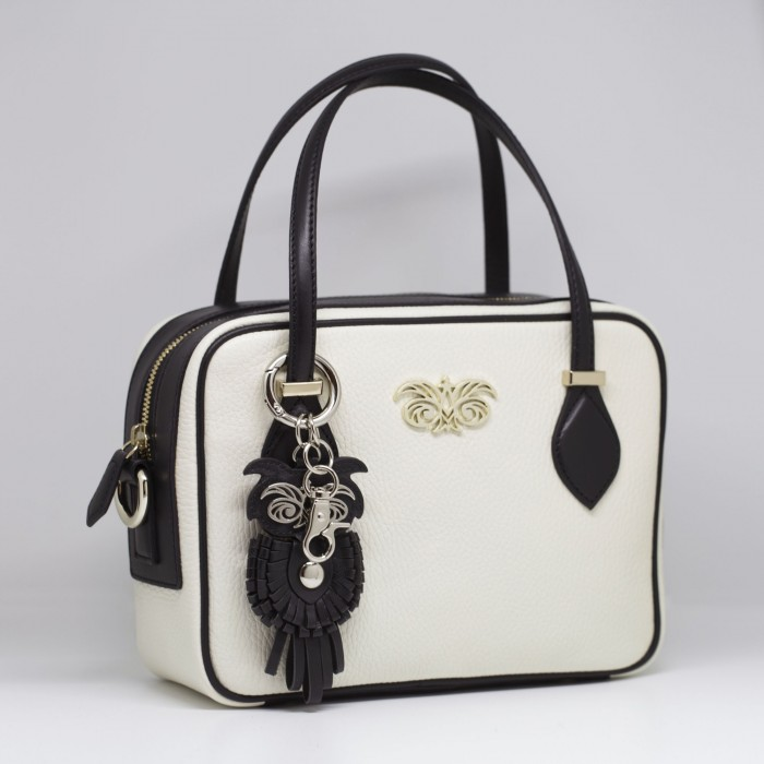 Key holder and bag charms OWL in black leather - attached on handbag