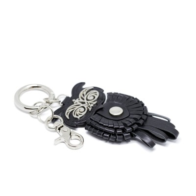 Key holder and bag charms OWL in black leather - side view