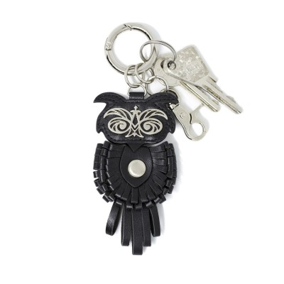 Key holder and bag charms OWL in black leather - with keys