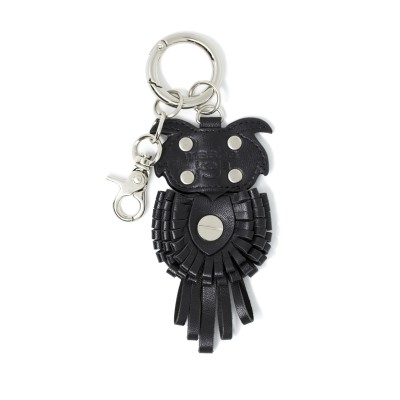 Key holder and bag charms OWL in black leather - back