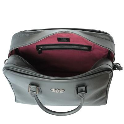 48h handbag for men in grained calf leather black color - open