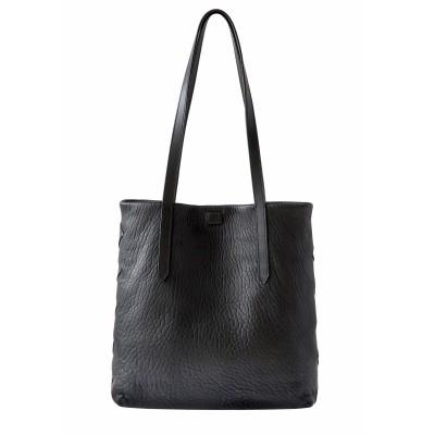 Soft lamb leather shopper, Medium size, black color - front view