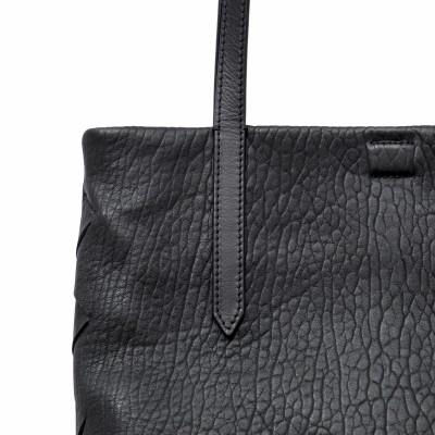 Soft lamb leather shopper, Medium size, black color - details