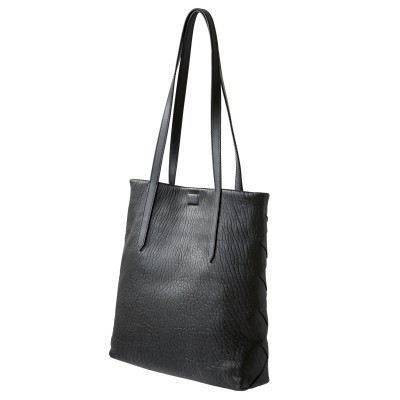 Soft lamb leather shopper, Medium size, black color - side view