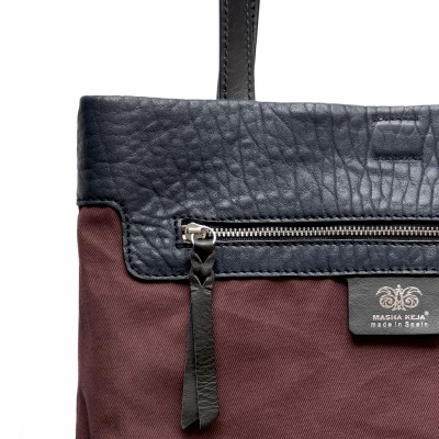 Soft lamb leather shopper, Big size, navy blue color -inside pocket details