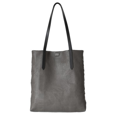 """Soft lamb leather shopper """"SUZANNE"""", big size, taupe color - front view"""