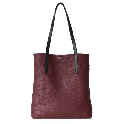 "Soft lamb leather shopper ""SUZANNE"", big size, burgundy color - front view"