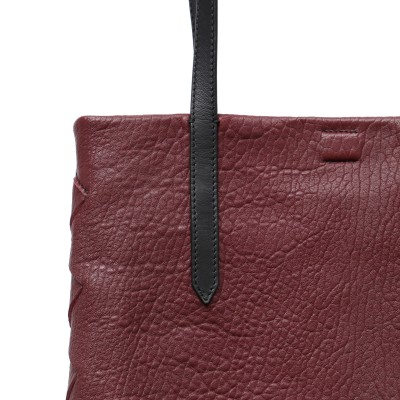 """Soft lamb leather shopper """"SUZANNE"""", big size, burgundy color - details"""