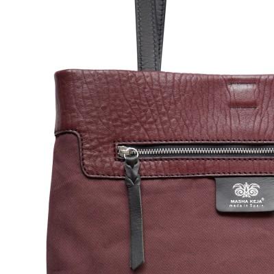 "Soft lamb leather shopper ""SUZANNE"", big size, burgundy color - zoom on details"