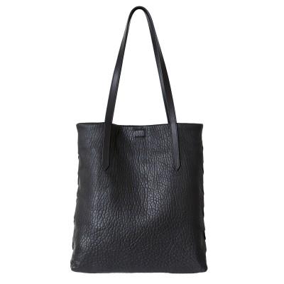 """Soft lamb leather shopper """"SUZANNE"""", big size, black color - front view"""