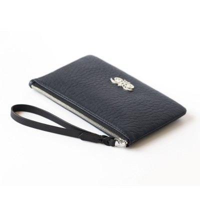 Lambskin zipper pouch with wrist strap, navy blue color - side view