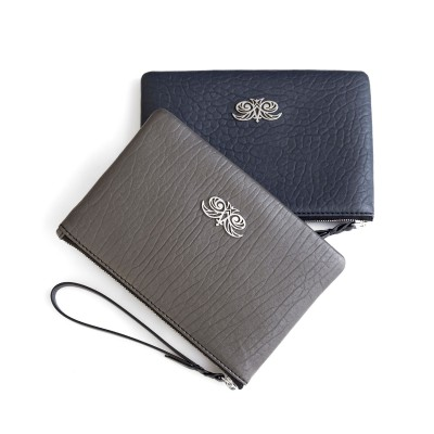 Lambskin zipper pouch with wrist strap, navy blue and kaki colors - front view