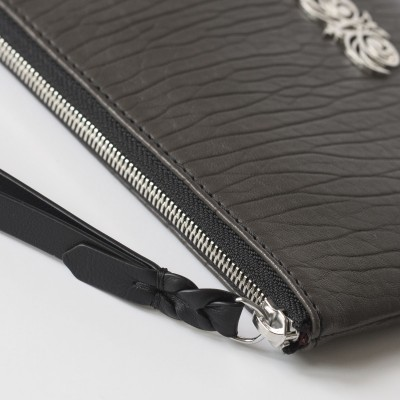 Lambskin zipper pouch with wrist strap, kaki color - wrist strap details
