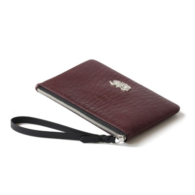 Lambskin zipper pouch with wrist strap, burgundy color - side view