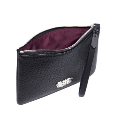 Lambskin zipper pouch with wrist strap, black color - open