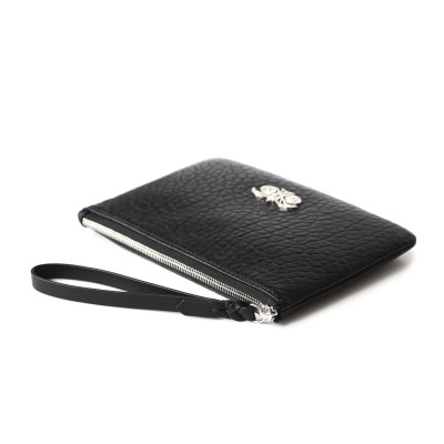 Lambskin zipper pouch with wrist strap, black color - side view