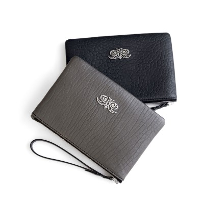 Lambskin zipper pouch with wrist strap, black and kaki colors - front view