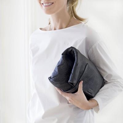 "Soft lamb leather shopper ""SUZANNE"", big size, black color - folded"