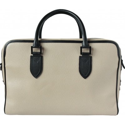 48h handbag for men in grained calf leather beige color - back view