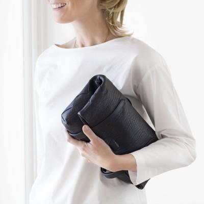 Soft lamb leather shopper, Medium size, black color - folded