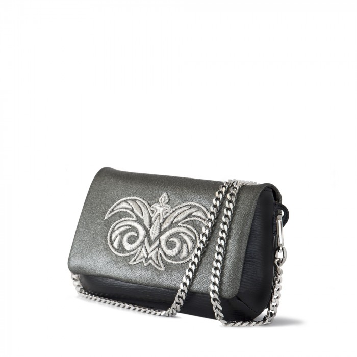 "small handbag ""AVA BABY"" in calf and lambskin ""taffeta"" embroidered cannetille"