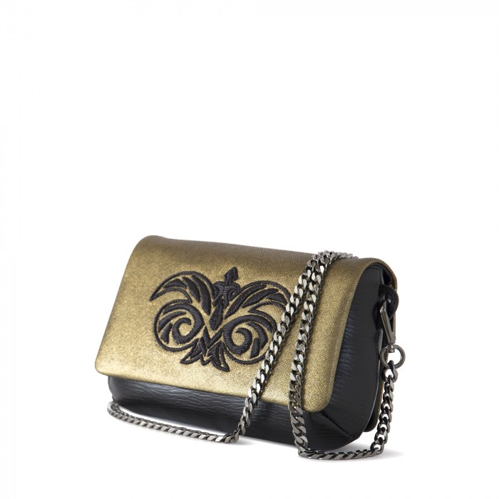 "CLUTCH ""AVA BABY"" IN CALF AND LAMBSKIN ""TAFFETA""EMBROIDERED CANNETILLE"