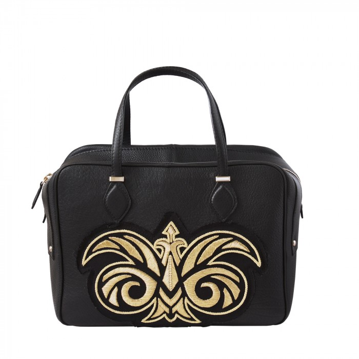 "handbag ""JOUR"" in grained leather embroidered cannetille"