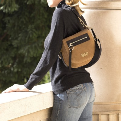 FRENCHY, crossbody leather and nubuck, wet sand color - on shoulder