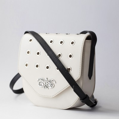 Small shoulder bag DINA ROCK in smooth leather, white color - side view