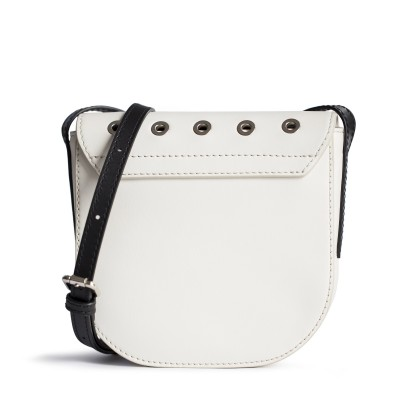 Small shoulder bag DINA ROCK in smooth leather, white color - back view