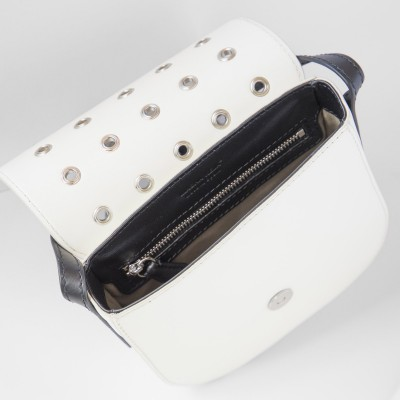 Small shoulder bag DINA ROCK in smooth leather, white color - open