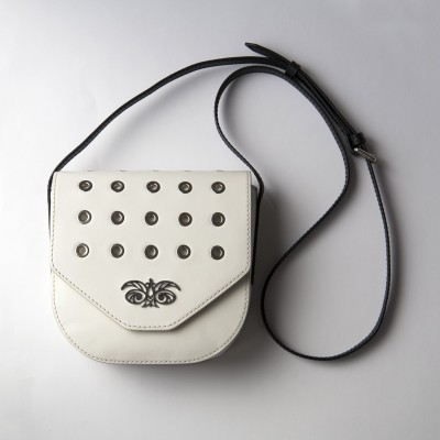 Small shoulder bag DINA ROCK in smooth leather, white color - with a shoulder strap