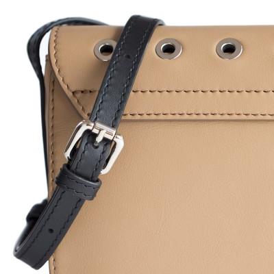 Small shoulder bag DINA ROCK in smooth leather, beige color - details