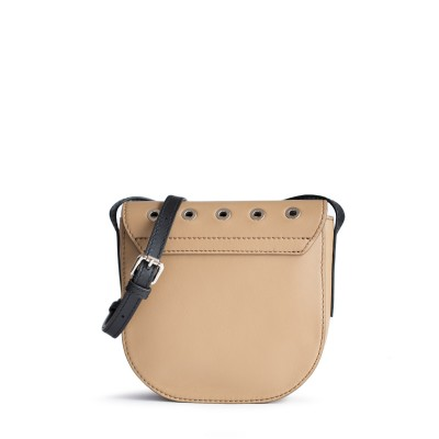 Small shoulder bag DINA ROCK in smooth leather, beige color - back view
