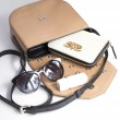 Small shoulder bag DINA ROCK in smooth leather, beige color - with accessories