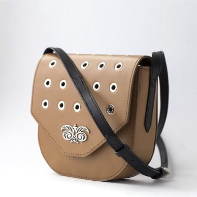 Small shoulder bag DINA ROCK in smooth leather, wet sand - side view