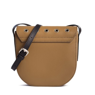 Small shoulder bag DINA ROCK in smooth leather, wet sand - back view