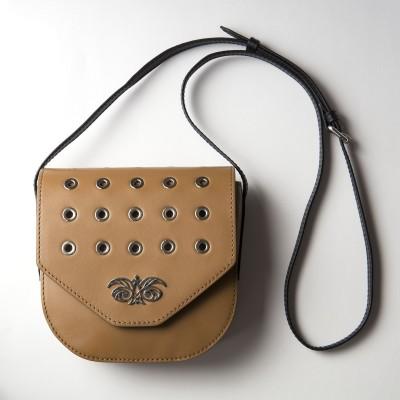Small shoulder bag DINA ROCK in smooth leather, wet sand - with shoulder strap